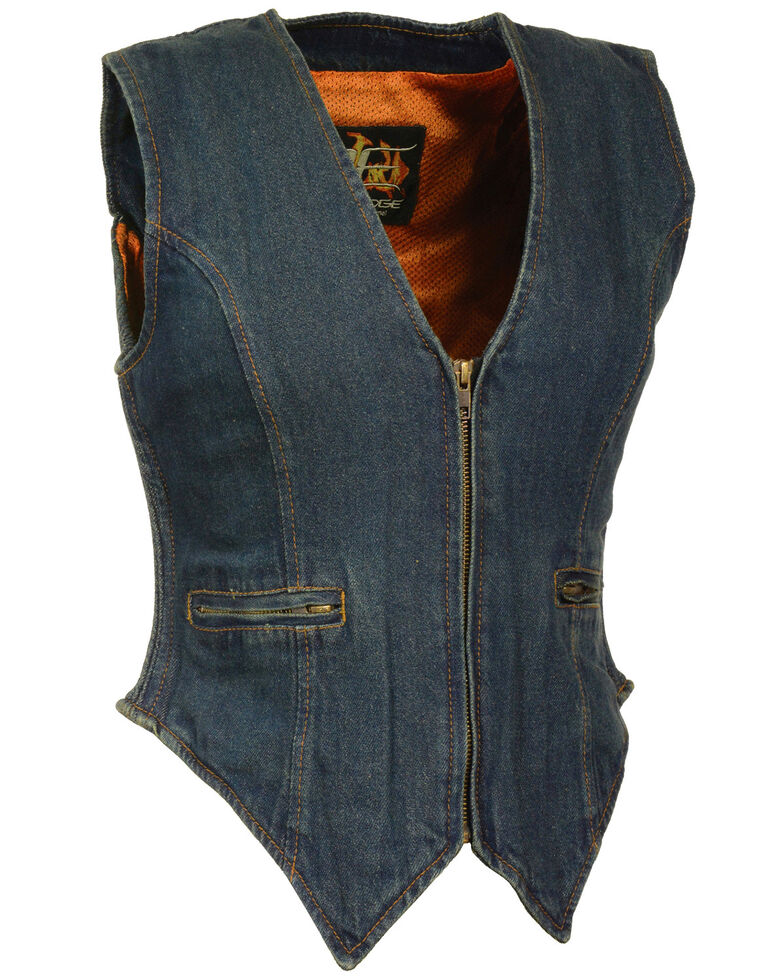Milwaukee Leather Women's Side Stretch Zipper Front Denim Vest - 3X, Blue, hi-res