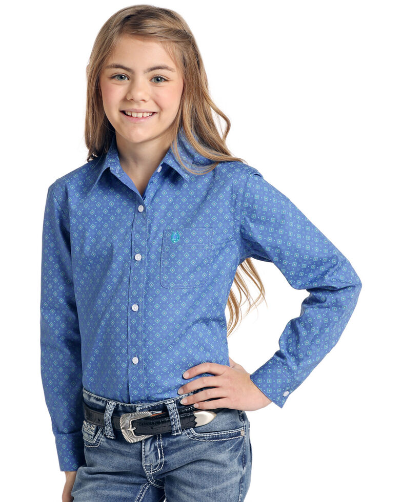 Rough Stock By Panhandle Girls' Arosa Geo Print Long Sleeve Western Shirt , Blue, hi-res