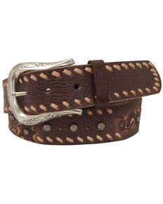 Roper Women's Brown Horseshoe Buckle Leather Belt, Brown, hi-res
