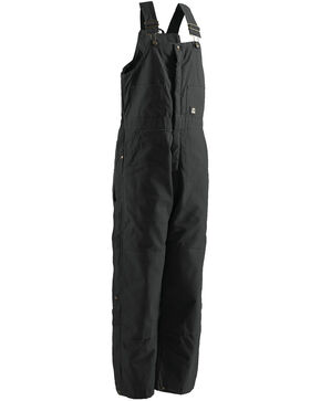 Berne Brown Duck Deluxe Insulated Bib Overalls - Big, Black, hi-res