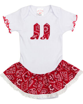 Kiddie Korral Infant Girls' Bandana Ruffle Onesie , Red, hi-res