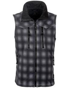 STS Ranchwear Boys' Youth Perf Plaid Softshell Vest, Black, hi-res