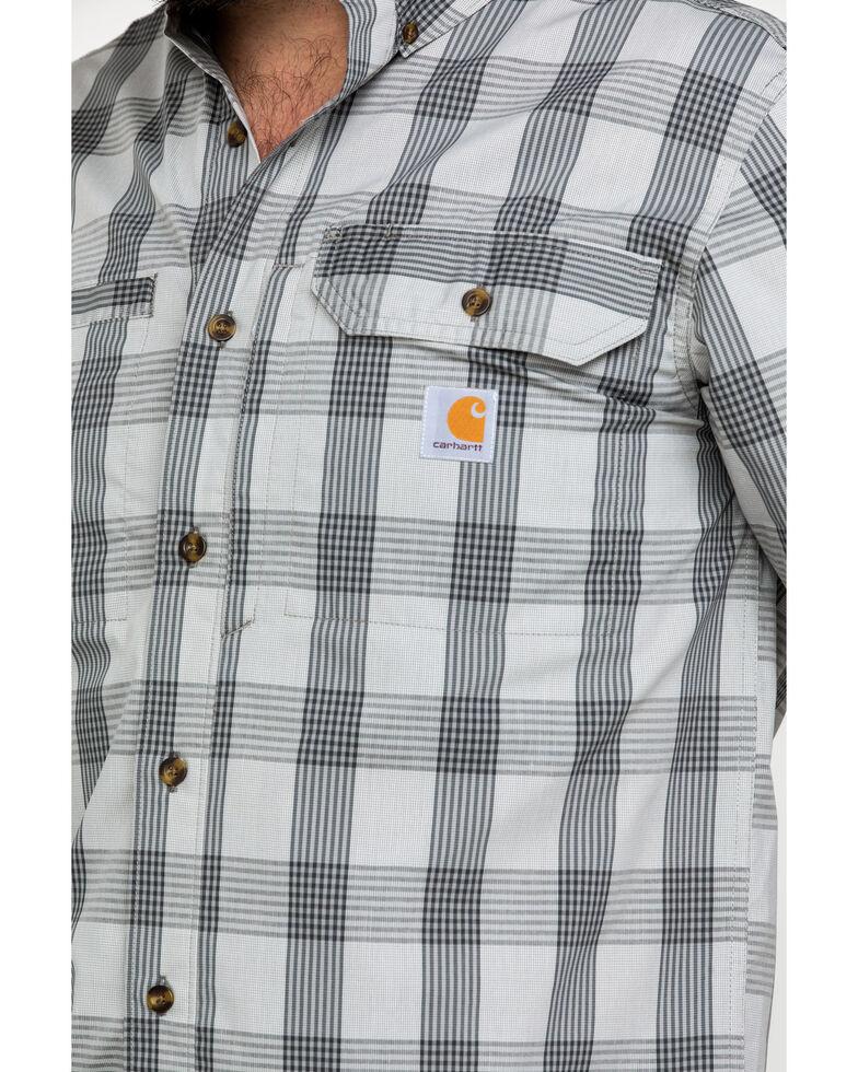 Carhartt Men's Grey Rugged Flex Rigby Plaid Short Sleeve Work Shirt - Tall , Dark Grey, hi-res
