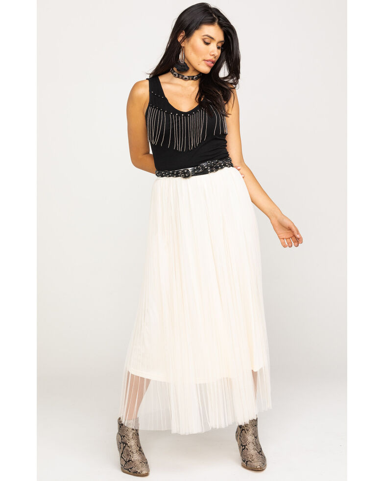 Origami Women's Solid Pleated Mesh Maxi Skirt, Ivory, hi-res