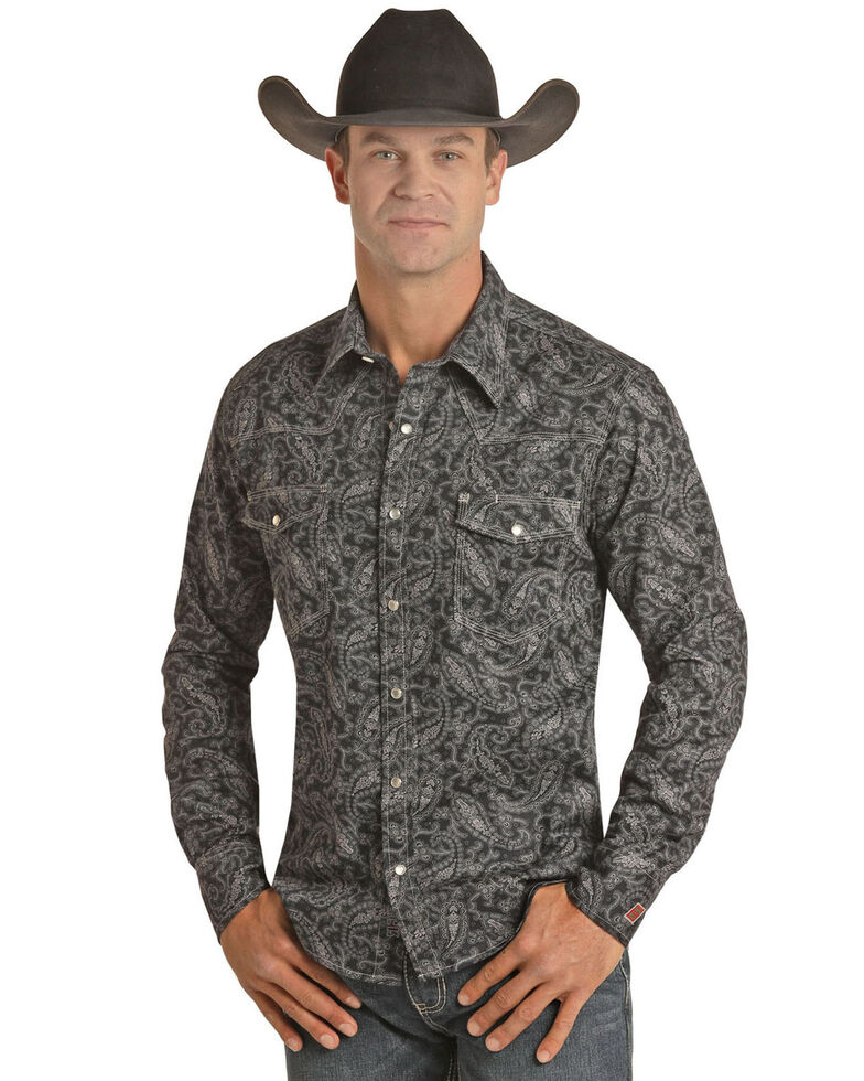 Rock & Roll Denim Men's FR Black Paisley Long Sleeve Work Shirt - Big , Black, hi-res