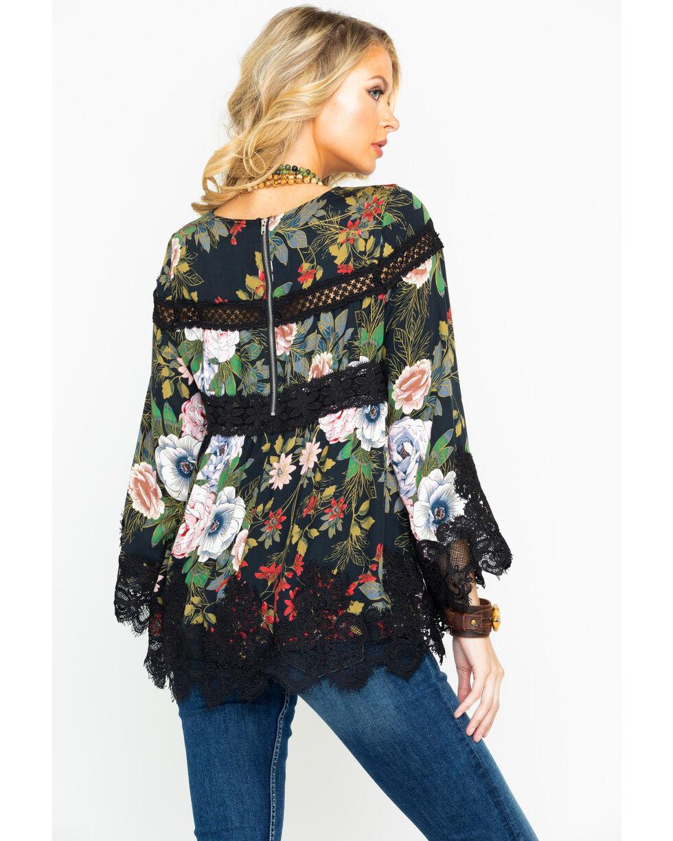 Miss Me Women's Floral Print Scalloped Lace Hem Top , Black, hi-res