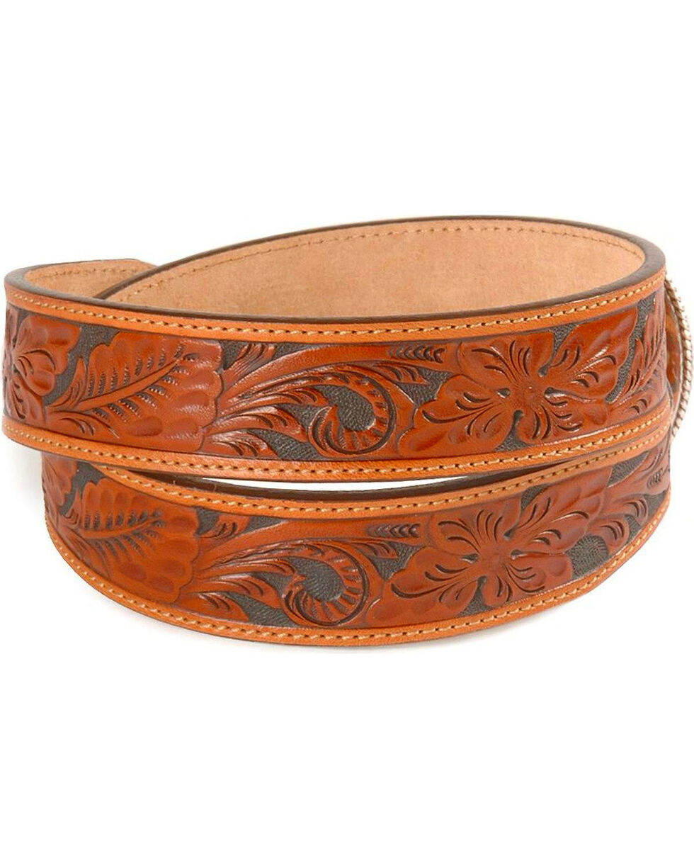 Justin Tooled Leather Belt - Reg & Big, Tan, hi-res