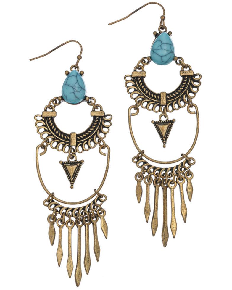 Howard's Women's Western Drop Turquoise Stone Earrings, Turquoise, hi-res