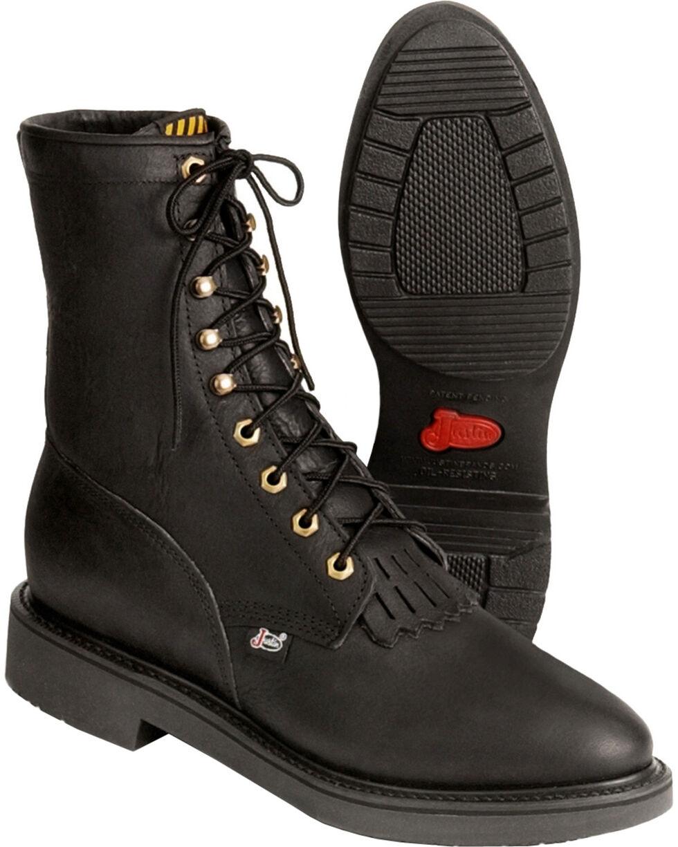 Justin Men's Lace Up Work Boots, Black, hi-res
