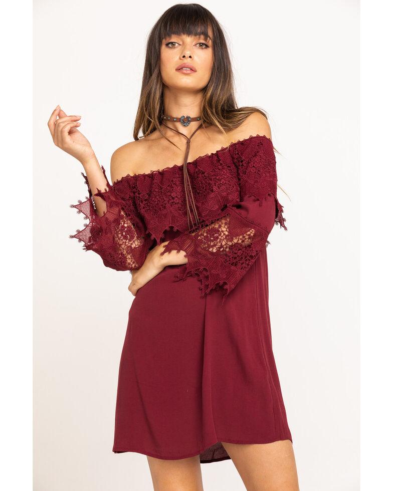Shyanne Women's Lace Trim Peasant Dress , Burgundy, hi-res