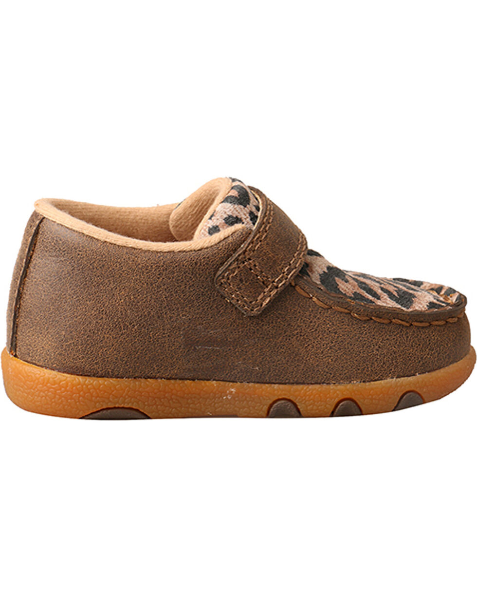 Twisted X Infant Leopard Driving Moccasins, Brown, hi-res