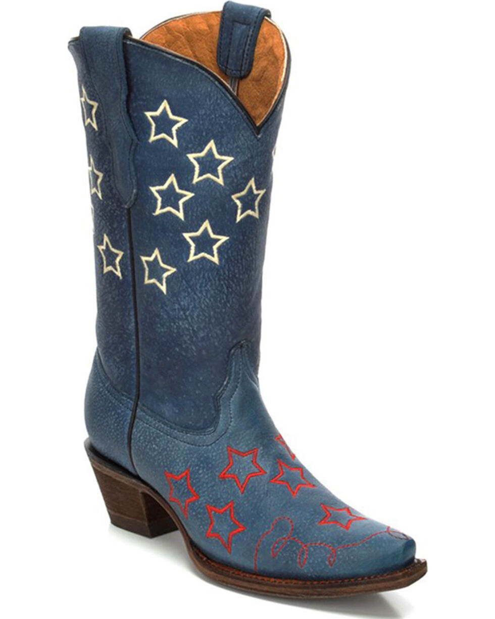 Corral Girls' Stars Embroidery Cowgirl Boots - Snip Toe , Blue, hi-res
