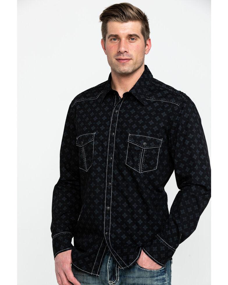 Rock & Roll Cowboy Men's Crinkle Washed Geo Print Long Sleeve Western Shirt, Black, hi-res