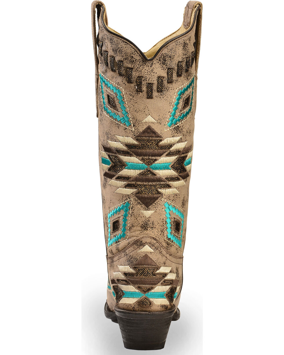 Corral Women's Distressed Aztec Pattern Western  Boots, Distressed, hi-res