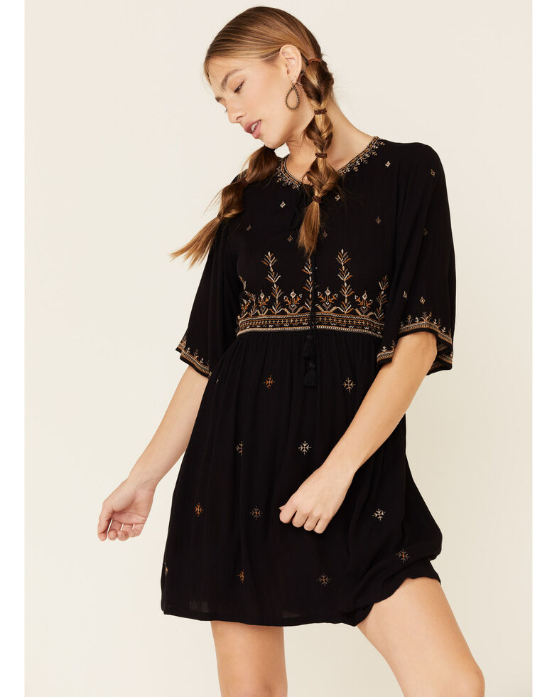 Shyanne Women's Embroidered Lace-Up Peasant Dress, Black, hi-res