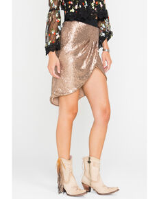 edb8ec700cad6 HYFVE Women s Rose Gold Sequin Tulip Skirt
