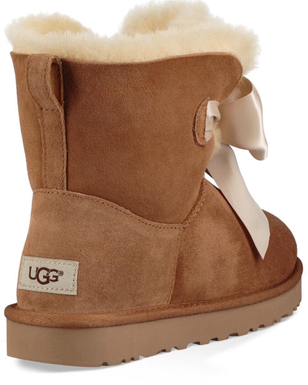 UGG Women's Chestnut Gita Bow Mini Boots - Round Toe, Brown, hi-res