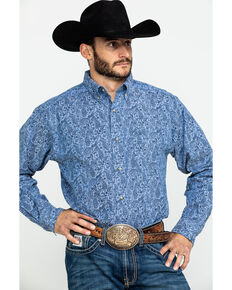 Ariat Men's Urbrick Stretch Paisley Print Long Sleeve Western Shirt - Big , Blue, hi-res