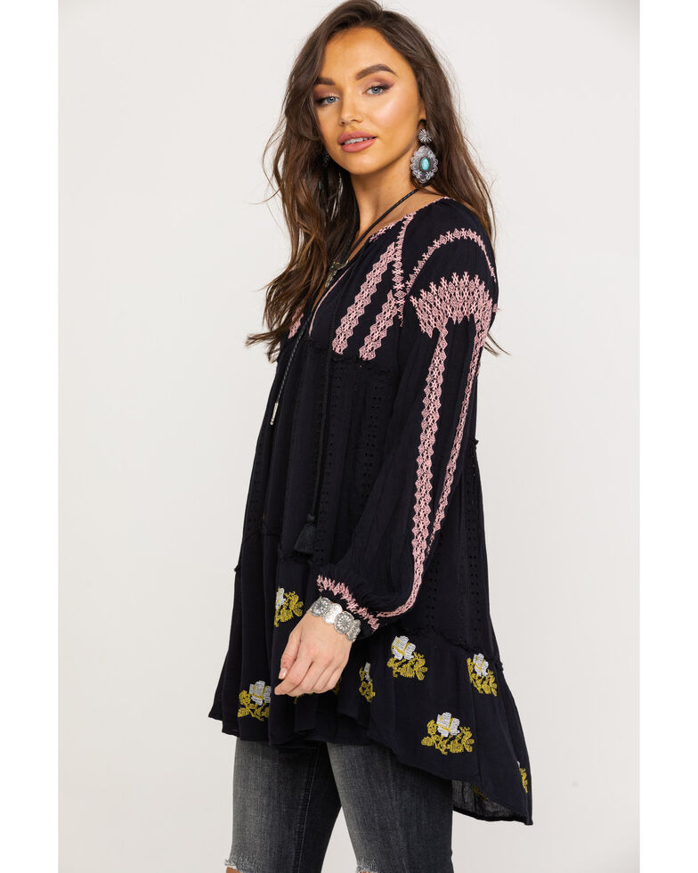 Free People Women's Wild Horse Embroidered Mini Dress, Black, hi-res