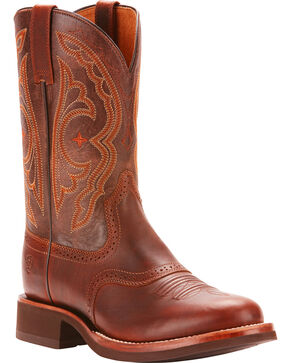 Ariat Men's Quantum Crepe Vintage Caramel Cowboy Boots - Round Toe, Brown, hi-res