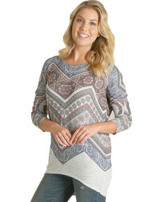 Wrangler Women's Grey Aztec Print Top , Multi, hi-res