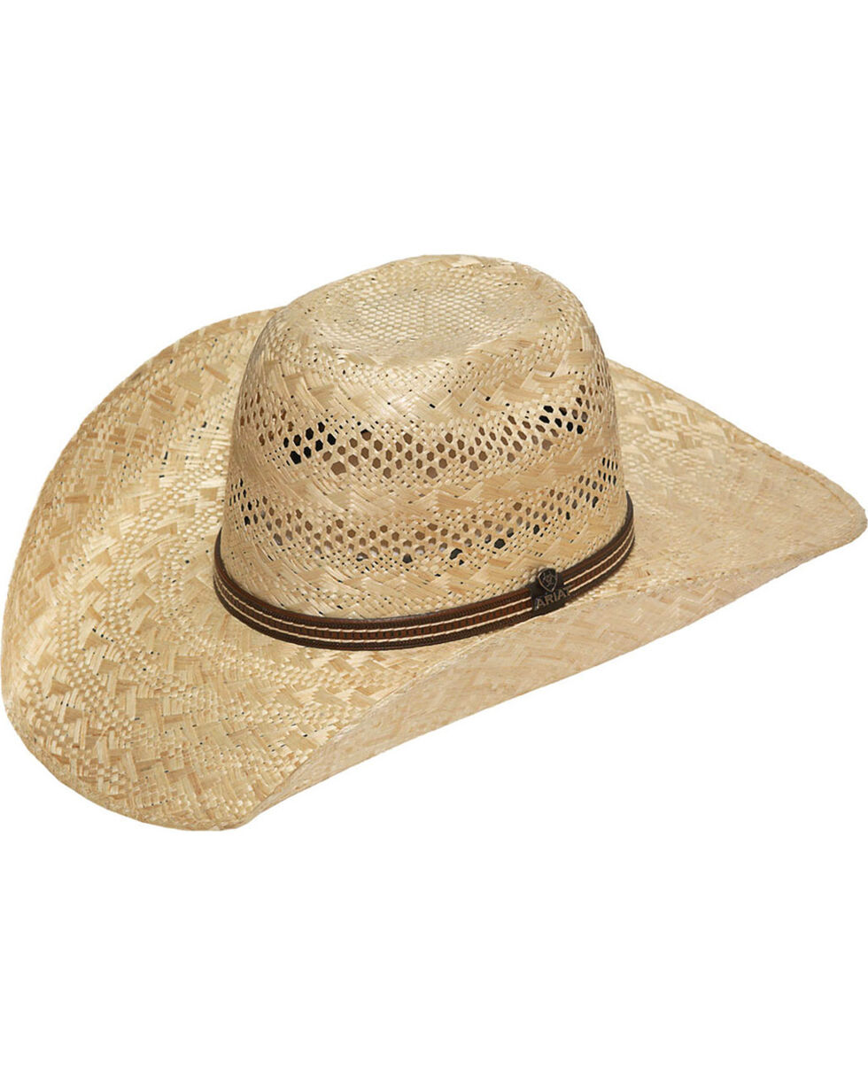 Ariat Men's Sisal Straw Punchy Cowboy Hat, Tan, hi-res
