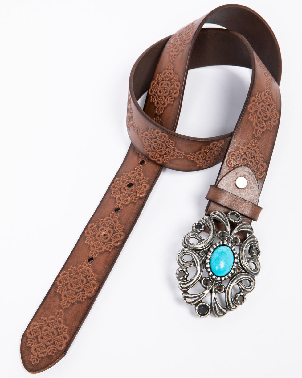 Idyllwind Women's Turquoise Concho Belt, Brown, hi-res