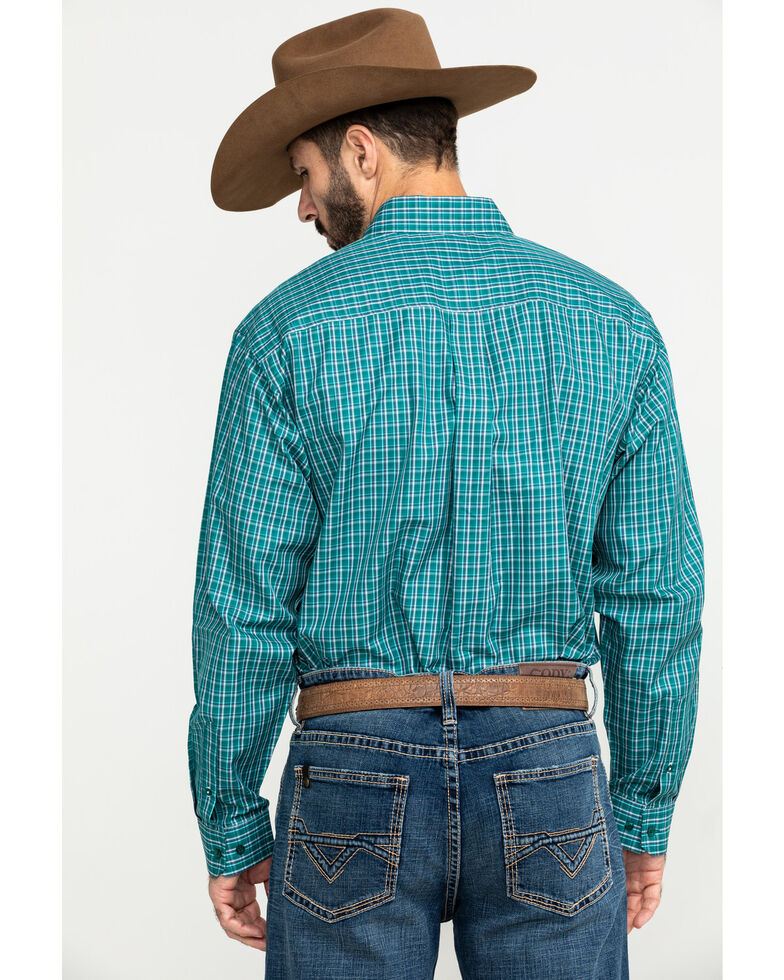 Cinch Men's Tencel Large Plaid Long Sleeve Western Shirt , Green, hi-res