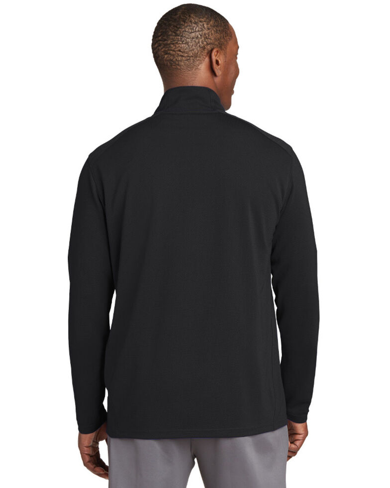 Sport Tek Men's Sport Wick Textured 1/4 Zip Pullover Work Sweatshirt , Black, hi-res