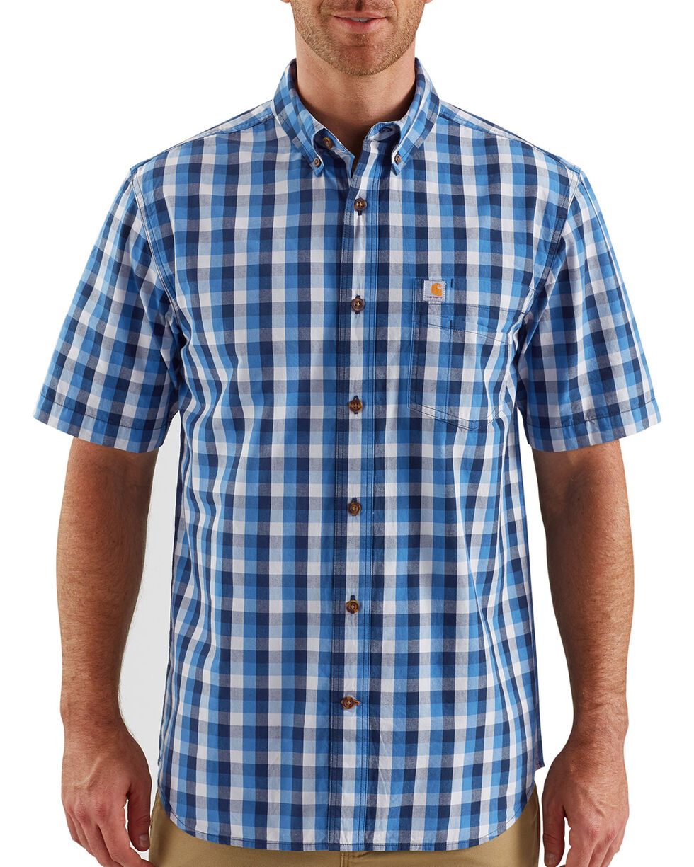 Carhartt Men's Essential Plaid Button Down Short Sleeve Shirt, Medium Blue, hi-res