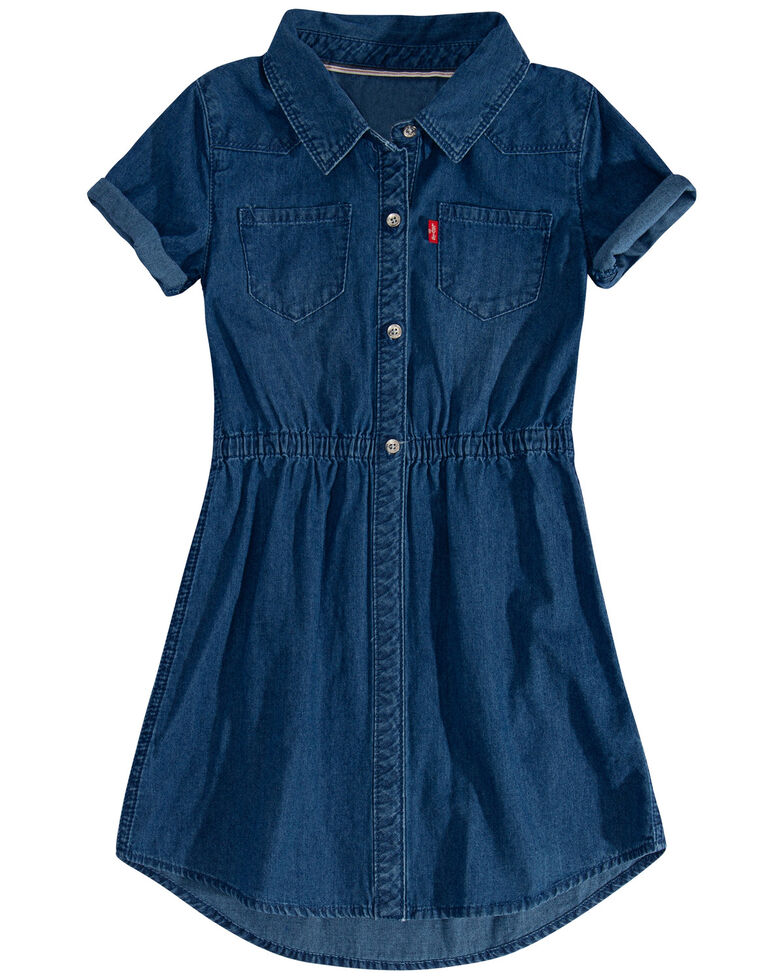 Levi's Girls' Cobalt Blue Denim Short Sleeve Button-Down Dress , Blue, hi-res