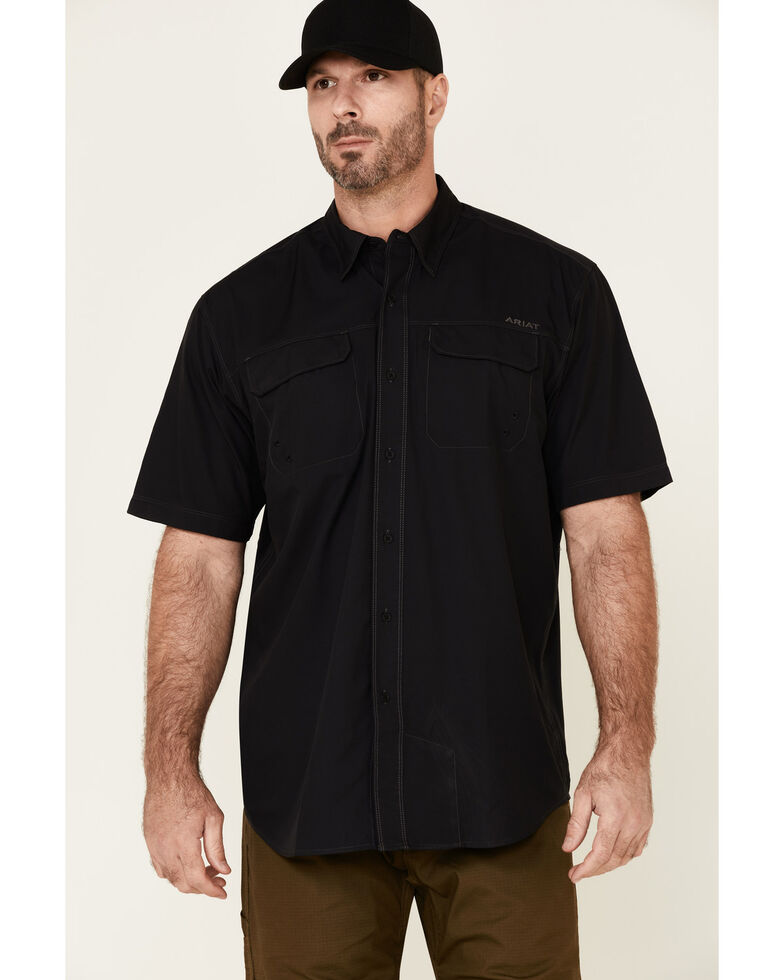 Ariat Men's Solid Black Ventek Outbound Short Sleeve Button-Down Western Shirt - Tall, Black, hi-res