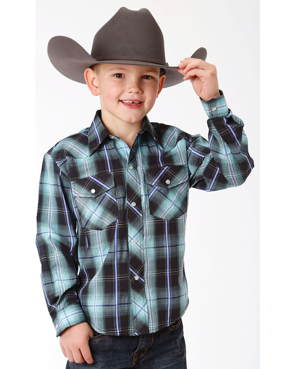 Roper Boys' Black Classic Western Shirt , Black, hi-res