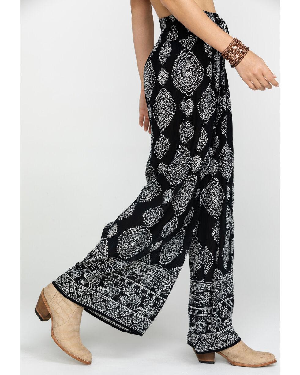 Bila Women's Black & White Print Wide Leg Pants, Black/white, hi-res