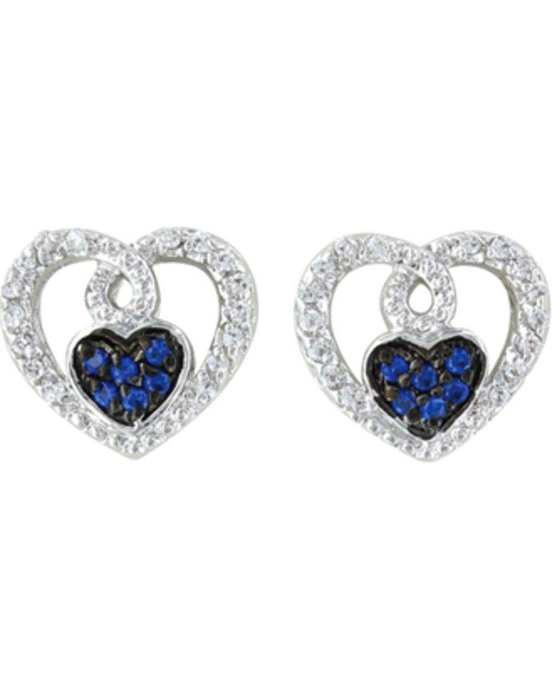 Montana Silversmiths Women's Curlicued Cerulean Heart Earrings, Silver, hi-res