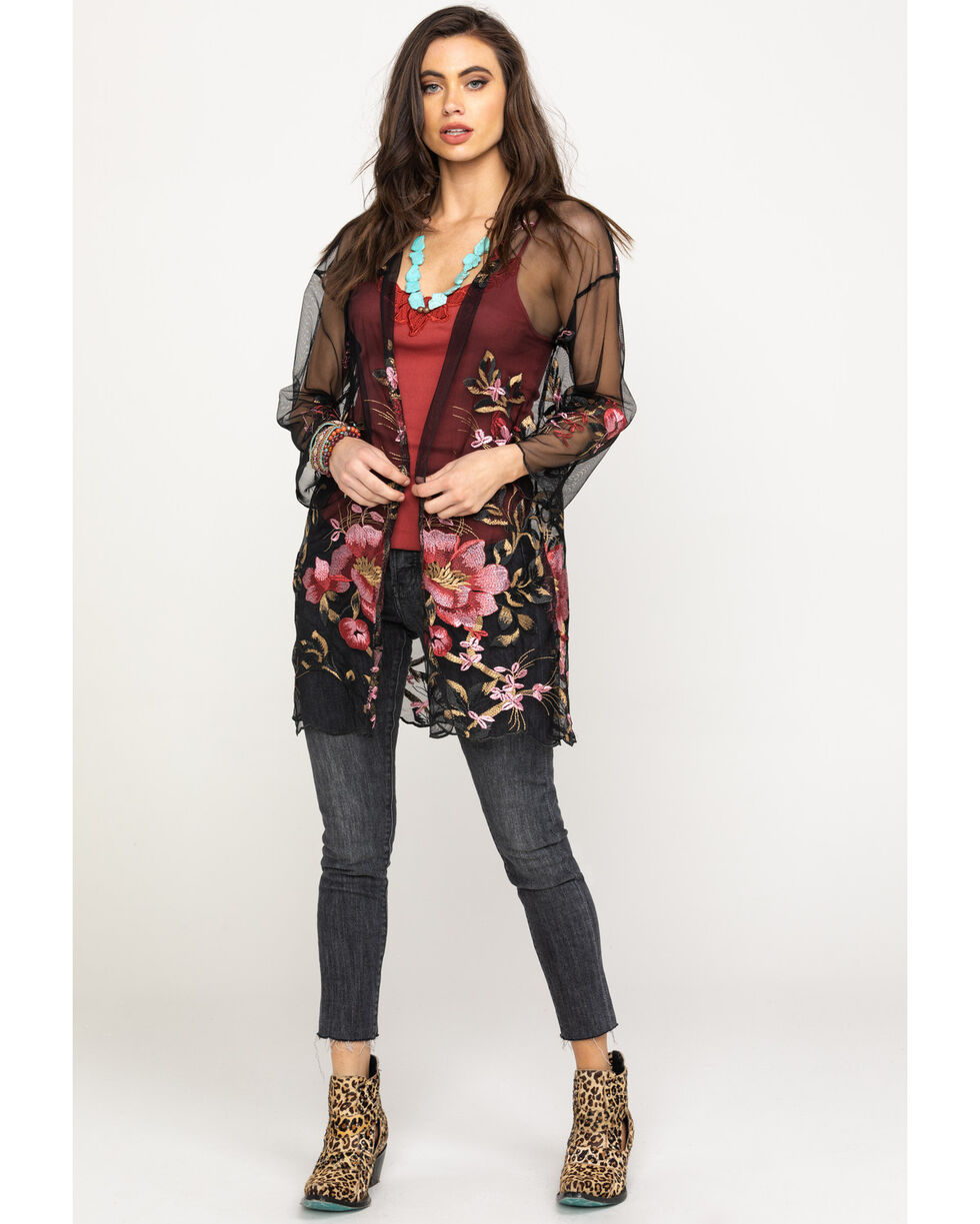 Red Label by Panhandle Women's Floral Embroidered Kimono, Black, hi-res
