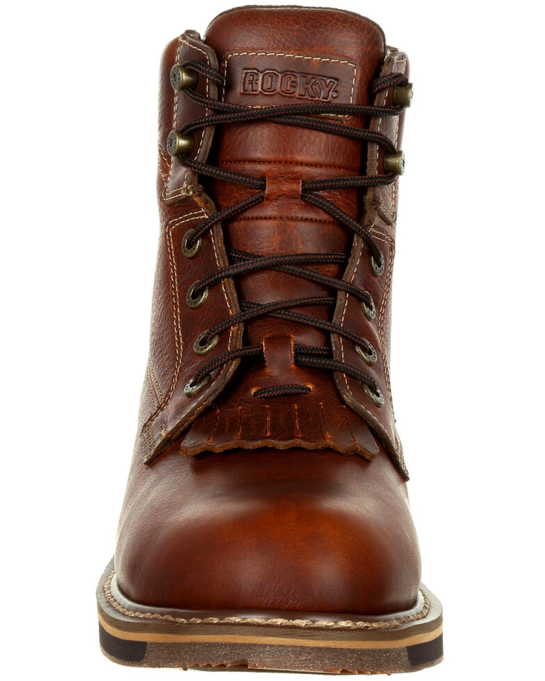 Rocky Men's Cody Waterproof Western Lacer Boots - Round Toe, Dark Brown, hi-res