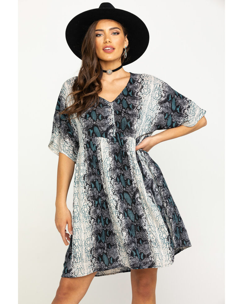 Angie Women's Snake Print Babydoll Dress, Ivory, hi-res