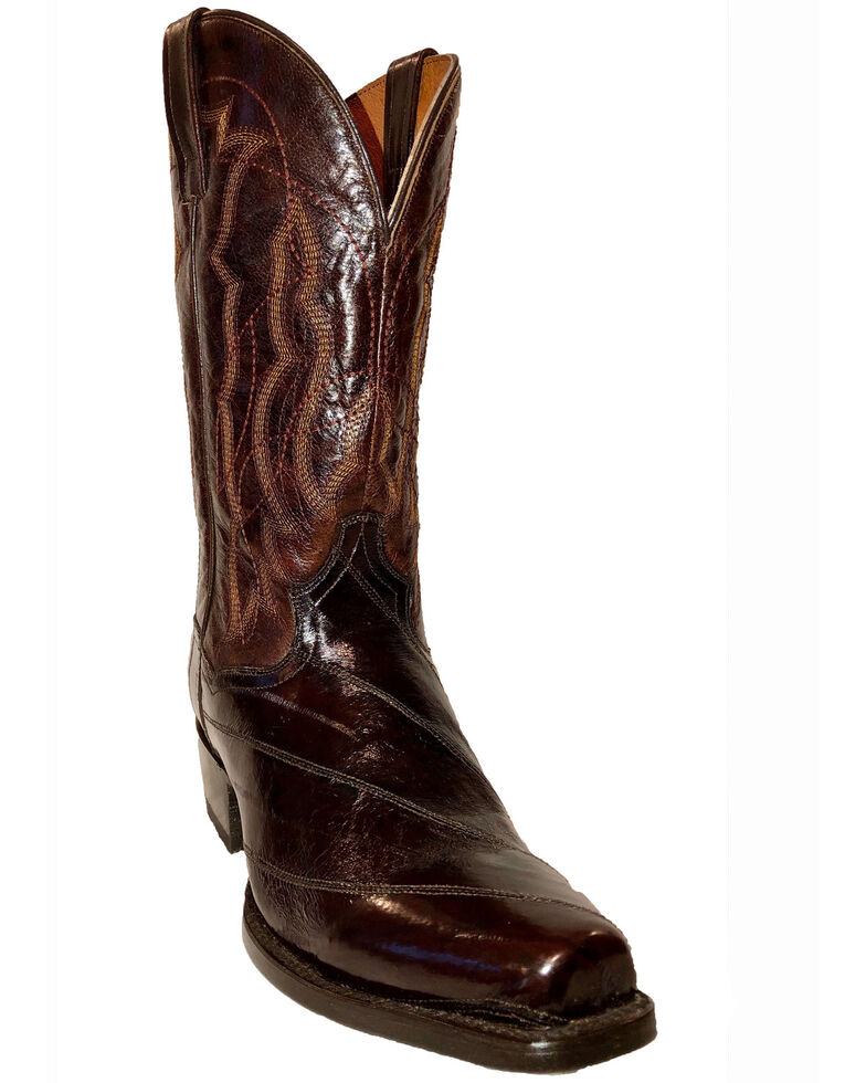 Dan Post Men's Exotic Eel Western Boots - Square Toe, Chocolate, hi-res