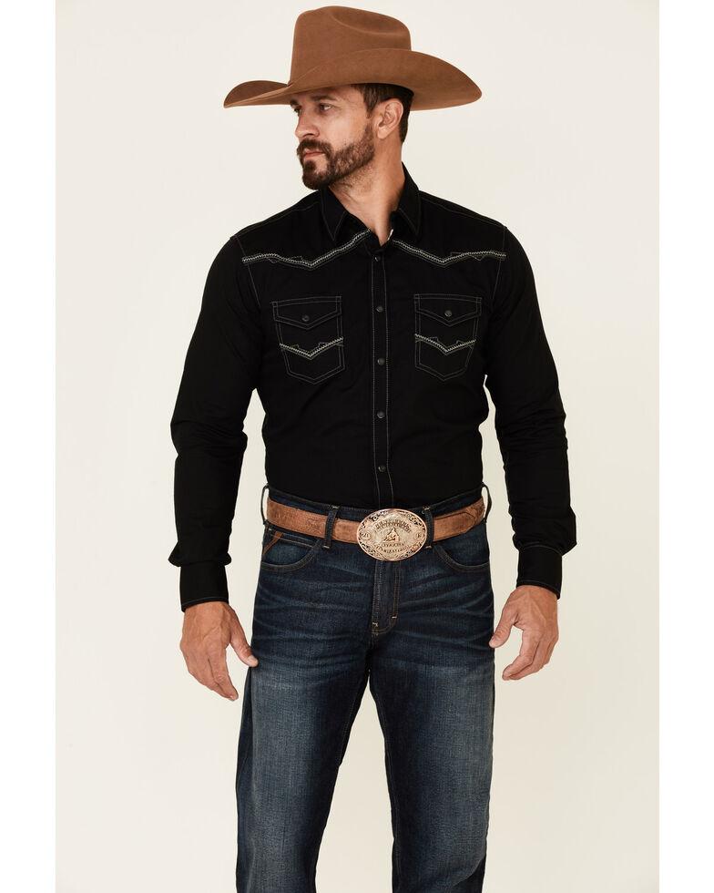 Rock 47 By Wrangler Men's Solid Black Embroidered Long Sleeve Snap Western Shirt , Black, hi-res