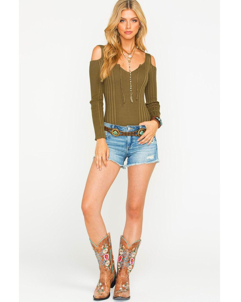 Sage the Label Women's Harley Ribbed Bodysuit, Olive, hi-res