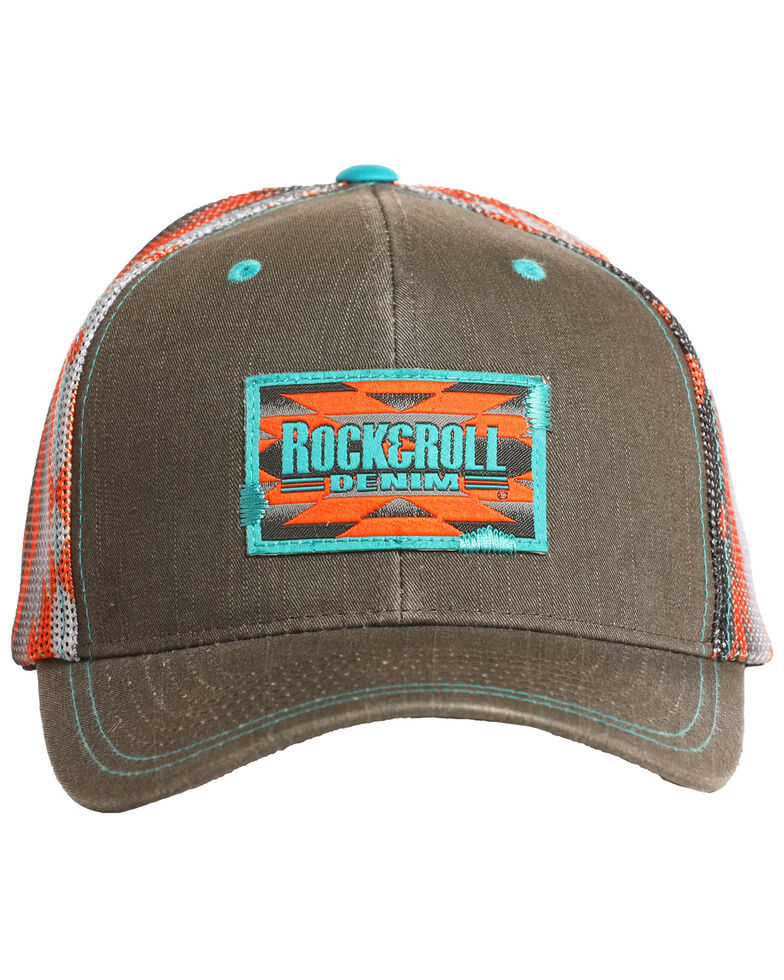 Rock & Roll Cowboy Men's Aztec Print Mesh Cap, Charcoal, hi-res