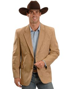 Circle S Men's Embroidered Microsuede Sport Coat, Tan, hi-res