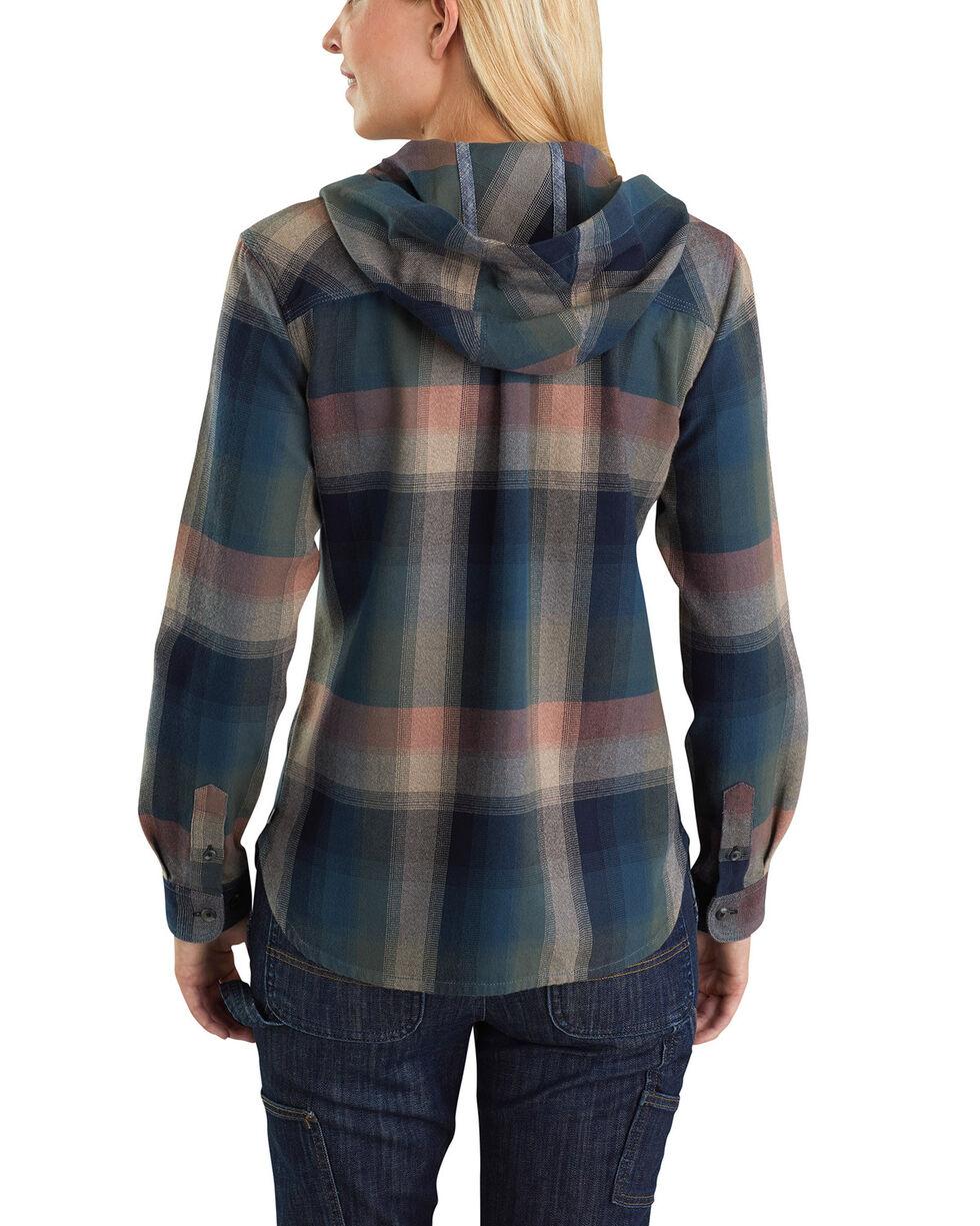 Carhartt Women's Beartooth Hooded Flannel Shirt, Dark Green, hi-res
