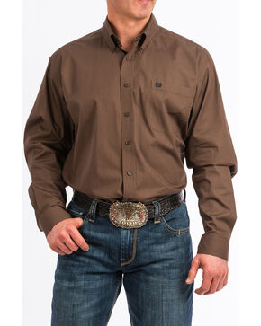 Cinch Men's Brown Geo Print Button Long Sleeve Western Shirt , Brown, hi-res