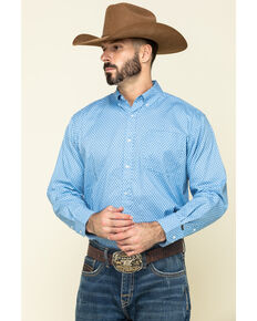 Ely Cattleman Black Label Men's Blue Geo Print Long Sleeve Western Shirt , Blue, hi-res