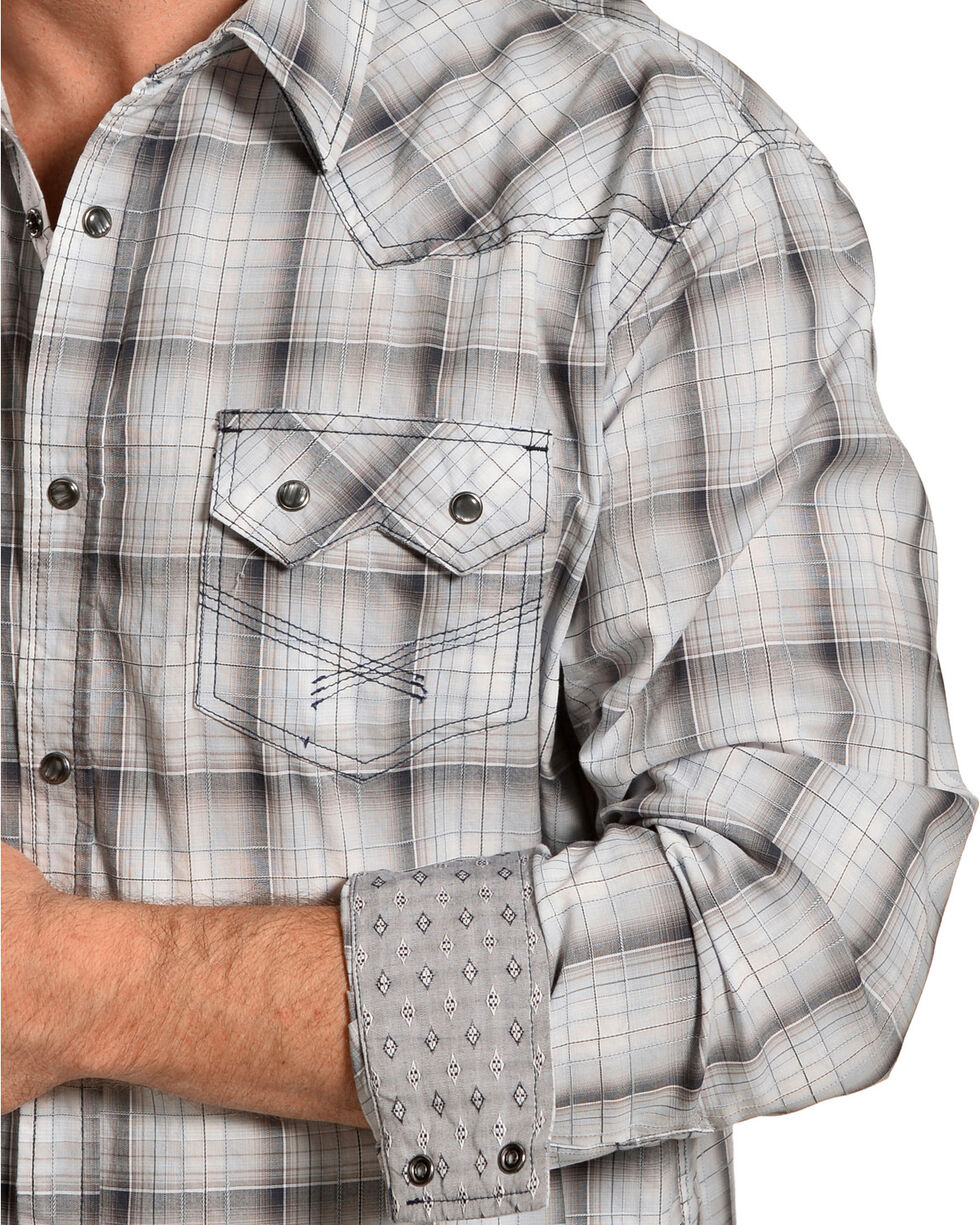 Moonshine Spirit Men's Grey Plaid Long Sleeve Western Snap Shirt, Grey, hi-res