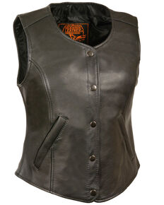 Milwaukee Leather Women's Snap Front Long Body Vest, Black, hi-res
