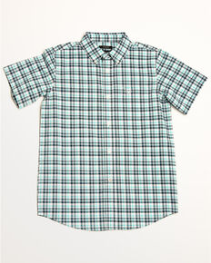 Ariat Boys' Hammerman Stretch Plaid Short Sleeve Western Shirt , White, hi-res