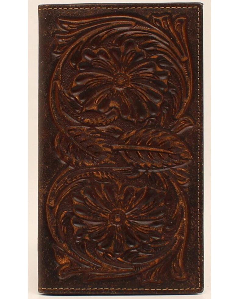 Ariat Floral Embossed Rodeo Wallet, Brown, hi-res